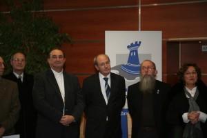 Mgr Guy Harpiny, M. André Carlier, M. Gérard Bavay